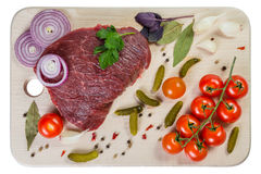 Fresh Meat, Tomatoes and Spices Stock Image