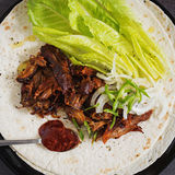 Fresh Meat Tortilla. With Chili Sauce Stock Photo