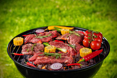 Fresh meat and vegetable on grill placed on grass Stock Photography