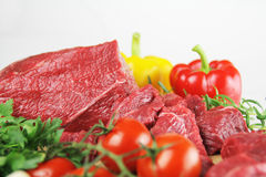 Fresh meat. And vegetable  on white Royalty Free Stock Photos