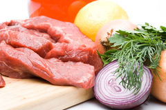 Fresh meat with vegetables Royalty Free Stock Photos