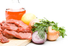 Fresh meat with vegetables Stock Photos
