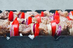 Fresh meat with vegetables is baked on the grill.  royalty free stock photo