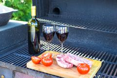 Fresh meat, vegetables and bottle of wine on a picnic outdoors Royalty Free Stock Photo