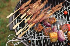 Fresh meat and vegetables on outdoor grill. Fresh meat sausage and vegetables grilled at a summer weekend barbecue Stock Images