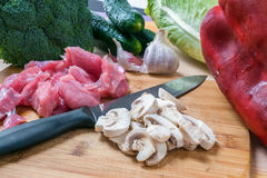 Fresh meat and vegetables Stock Photos