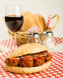 Fresh meatball sub sandwich for lunch Royalty Free Stock Images