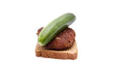 Fresh Meatball with Toast Bread and Cucumber Royalty Free Stock Images