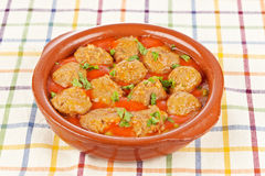 Fresh meatballs with peas Royalty Free Stock Image
