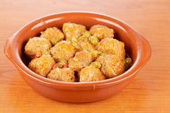 Fresh Meatballs With Peas Stock Photo