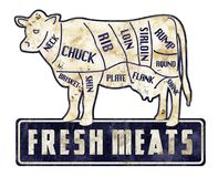 Free Fresh Meats Beef Cuts Sign Vintage Grunge Retro Butcher Shop Stock Image - 125188211