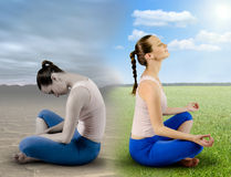 Fresh meditation. Photomontage, difference health in one woman Stock Photography
