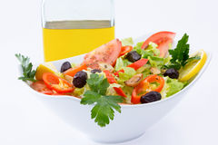 Fresh Mediterranean salad with extra virgin olive oil Royalty Free Stock Image