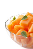 Fresh melon cubes Stock Image
