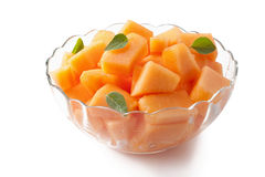 Fresh melon cubes Royalty Free Stock Images