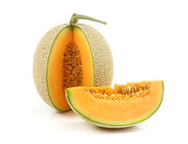 Fresh melon fruit on white Stock Images