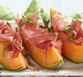 Fresh Melon with Prosciutto Royalty Free Stock Image