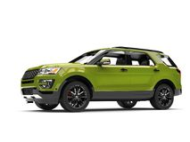 Fresh metallic green modern SUV car - low angle side view. Isolated on white background royalty free illustration