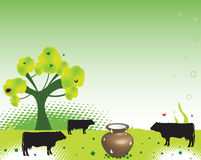 Fresh milk. Abstract colorful background with green tree, cow shapes and a huge brown pot full of fresh milk Stock Photography