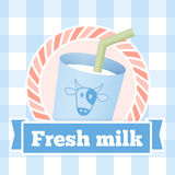 Fresh milk bottle label on seamless pattern background Royalty Free Stock Photography