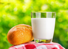 Fresh milk and bread on nature background Royalty Free Stock Images