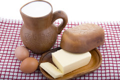 Fresh milk, butter and eggs in a natural pottery Royalty Free Stock Image