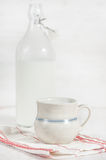Fresh milk in ceramic mug Stock Images