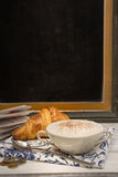 Fresh milk coffee and croissant, chalk board Stock Image