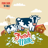 Fresh milk from farm to table. Advertising poster with label Royalty Free Stock Image