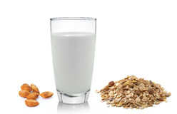 Fresh milk in the glass almond and muesli breakfast placed Stock Photos