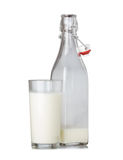 Fresh milk glass and bottle Stock Images