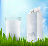 Fresh milk in a glass container of milk Royalty Free Stock Image
