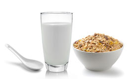 Fresh milk in the glass and muesli breakfast placed on white bac Stock Photo