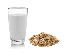 Fresh milk in the glass and muesli breakfast placed Royalty Free Stock Image