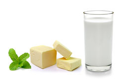 Fresh milk in the glass on white background Royalty Free Stock Images
