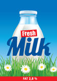 Fresh milk on grass field with flowers Stock Photography