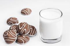 Fresh milk and a handful of cookies. Fresh tasty milk and a handful of cookies stock photography