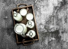 Free Fresh Milk In An Old Box. Stock Photo - 108863840