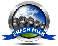 Fresh Milk - Metal Icon with Cans Royalty Free Stock Photos