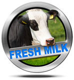 Fresh Milk - Metal Icon with Cow Stock Images