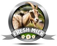 Fresh Milk - Metal Icon with Goat Royalty Free Stock Image