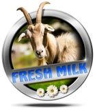 Fresh Milk - Metal Icon with Goat Stock Photos