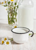 Fresh milk in metal mug Royalty Free Stock Image