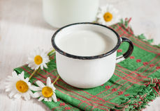 Fresh milk in metal mug Stock Photo