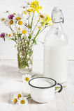 Fresh milk in metal mug Royalty Free Stock Images