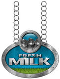 Fresh Milk -  Metallic Sign with Chain Stock Photography