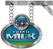 Fresh Milk -  Metallic Sign with Chain Royalty Free Stock Photos
