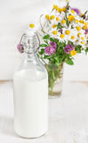 Fresh milk in old fashioned bottle and wildflowers Royalty Free Stock Photos