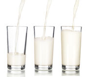 Fresh milk pouring into a glass Stock Photography