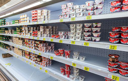 Fresh milk produces ready for sale in Auchan Samara Store Stock Image